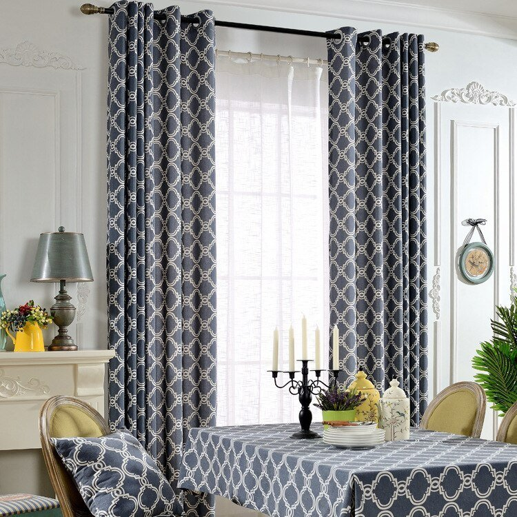 Best European Brief Style Cotton Blockout Cloth Curtain Geometric Printed Dark Blue Curtain For With Pictures