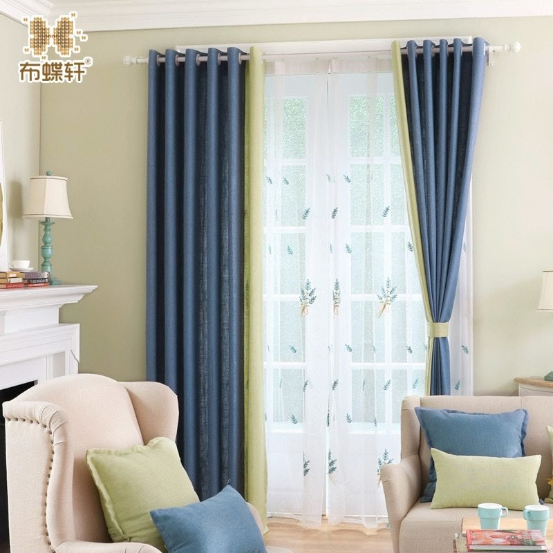 Best New Arrival Modern Simple Solid Blue And Yellow Linen With Pictures