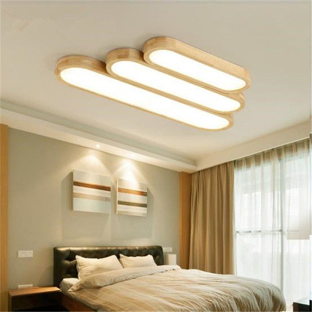 Best Puzzle Led Ceiling Lamps Str*P Wood Lamp Bedroom Living With Pictures