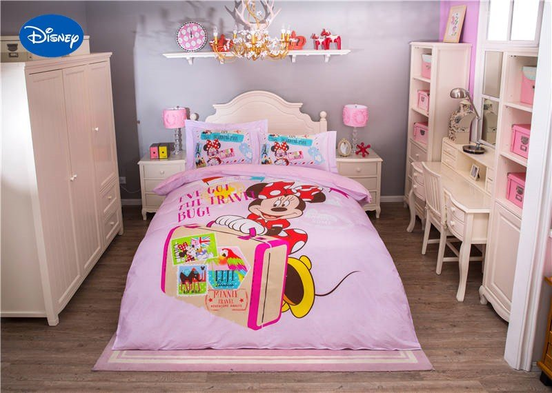 Best Pink Disney Cartoon Minnie Mouse Cartoon 3D Printed Bedding Set For Girls Bedroom Decor Cotton With Pictures