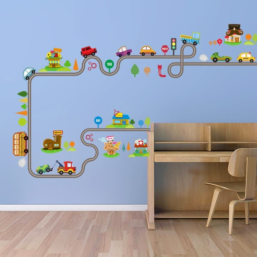 Best Cartoon Car Bus Highway Track Wall Stickers Kids Rooms With Pictures Original 1024 x 768