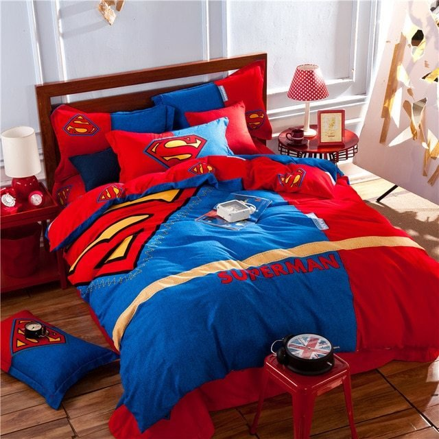 Best Superman Red Blue Kids Bedding Set King Queen Size Doona Quilt Duvet Cover Cartoon 100 Cotton With Pictures
