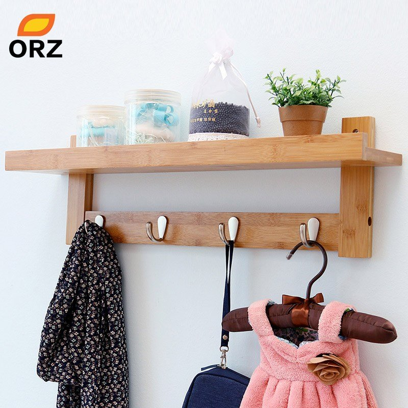 Best Orz Bamboo Wall Shelf Coat Hook Rack With 4 Alloy Hooks With Pictures
