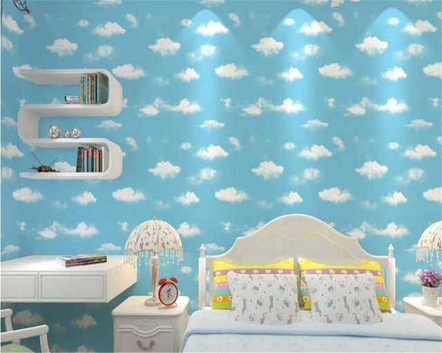 Best Beibehang 3D Blue Sky White Cloud Wall Paper Eco Nonwovens With Pictures