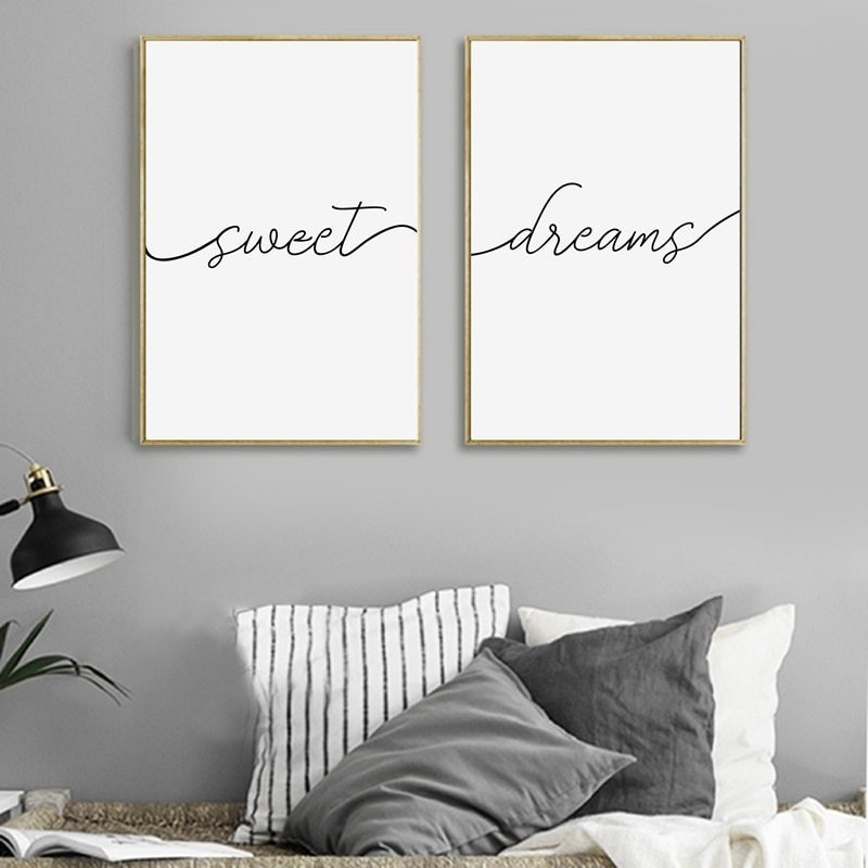 Best Sweet Dreams Print Typography Poster Bedroom Decor With Pictures