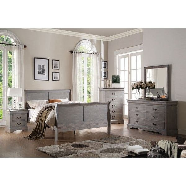 Best 4 Piece Antique Grey Bedroom Set Free Shipping Today With Pictures
