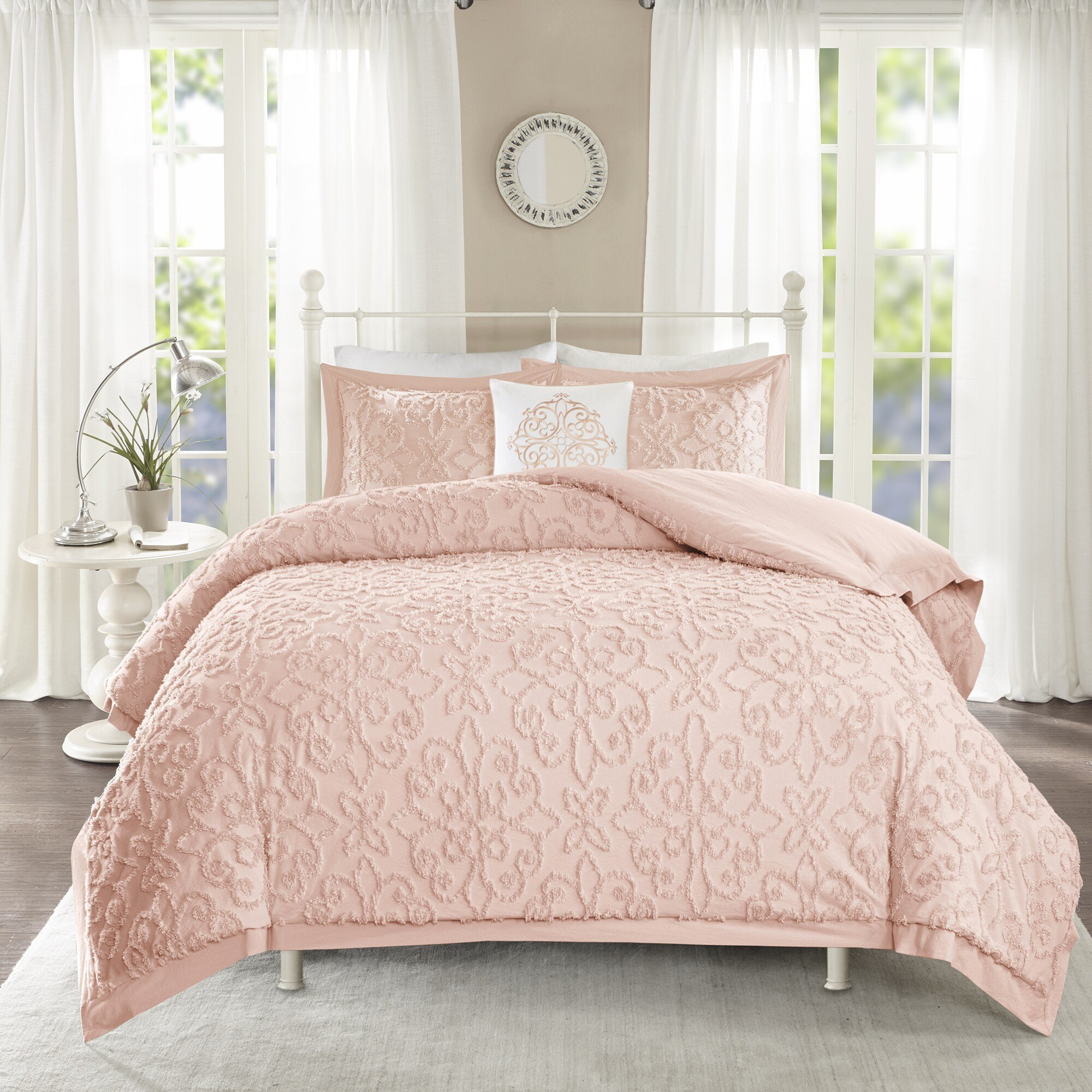 Best Shop Madison Park Sarah Pink Tufted Comforter 4 Piece Set With Pictures