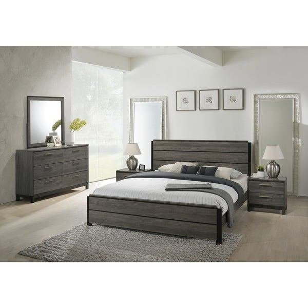 Best Shop Ioana 187 Antique Grey Finish Wood Bed Room Set King With Pictures