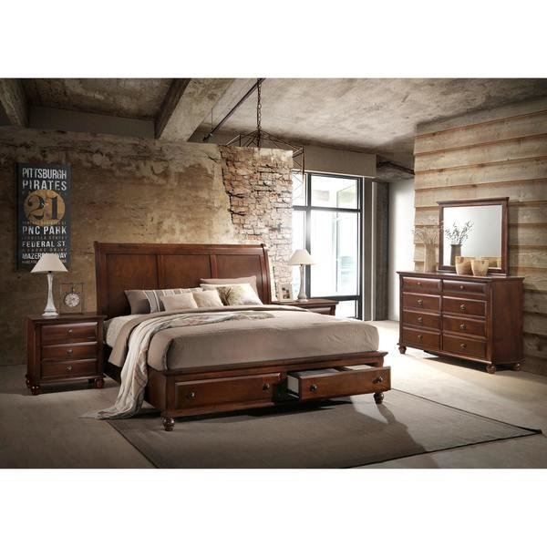 Best Shop Concord Cherry Finish Wood Bedroom Set With King Bed With Pictures