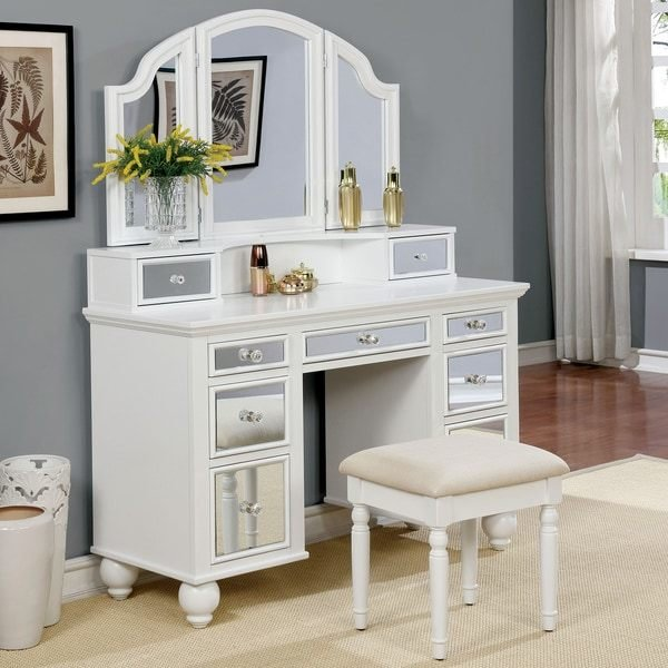 Best Shop Furniture Of America Nena Contemporary 2 Piece Mirrored Multi Drawer Vanity Table Set On With Pictures