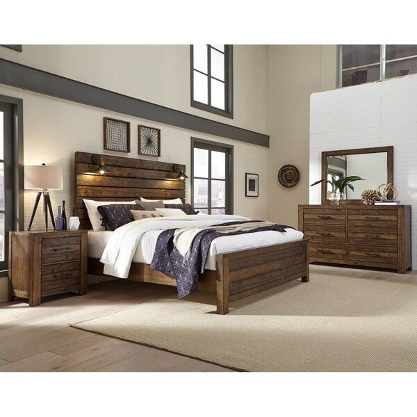 Best Shop Dajono Rustic Brown Finish 5 Piece Bedroom Set King With Pictures