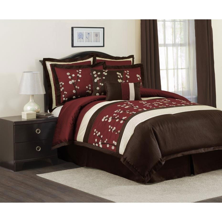 Best Lush Decor Red Cocoa Flower 8 Piece Comforter Set Free With Pictures