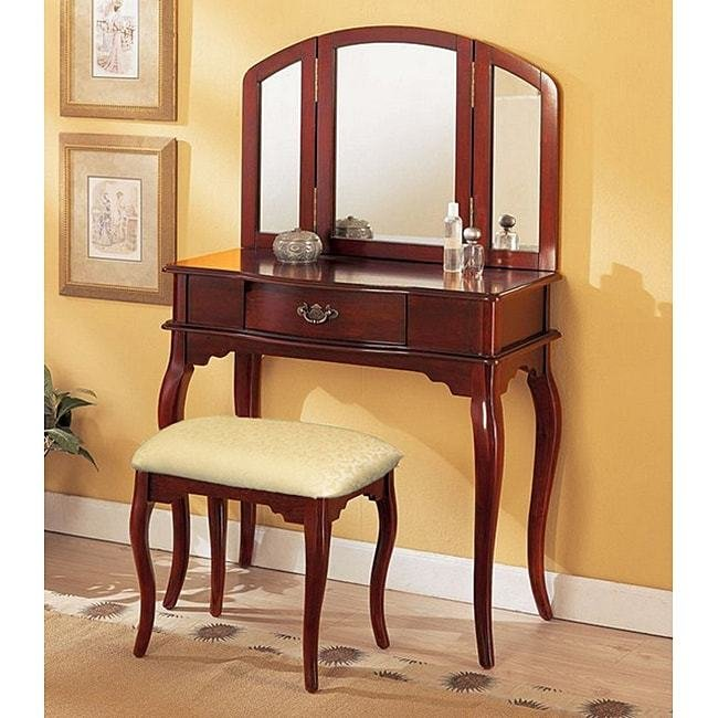 Best Cherry Tri Mirror Vanity Free Shipping Today Overstock With Pictures