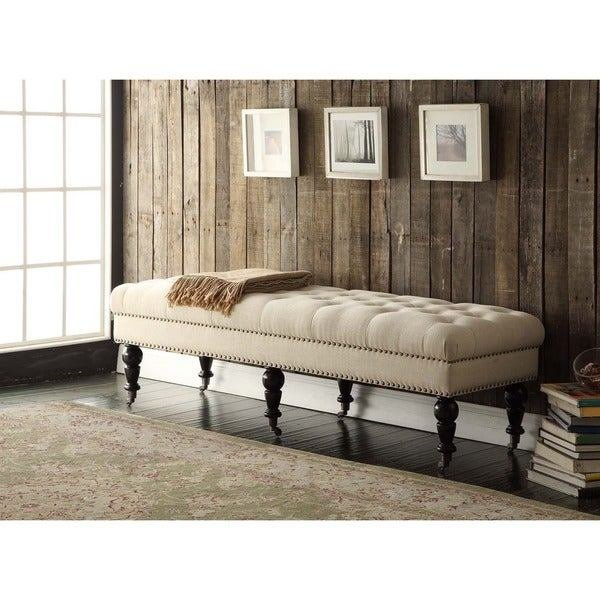 Best Linon 62 Inch Linen Tufted Bench Free Shipping Today With Pictures