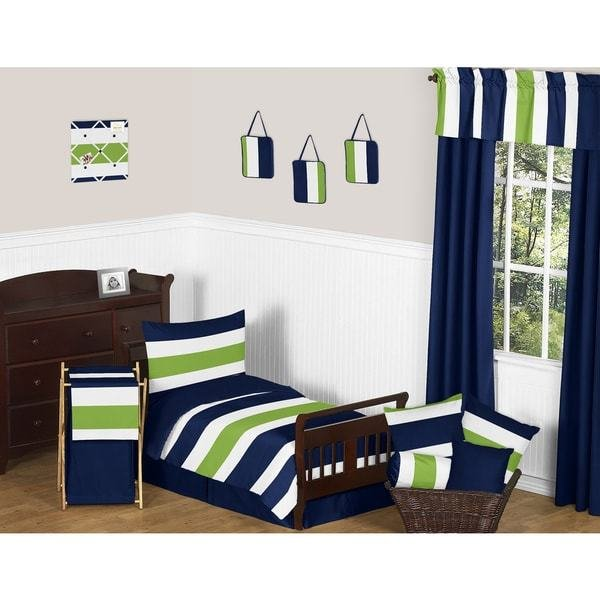 Best Shop Navy Blue Lime Green Stripe Boy S 5 Piece Toddler With Pictures