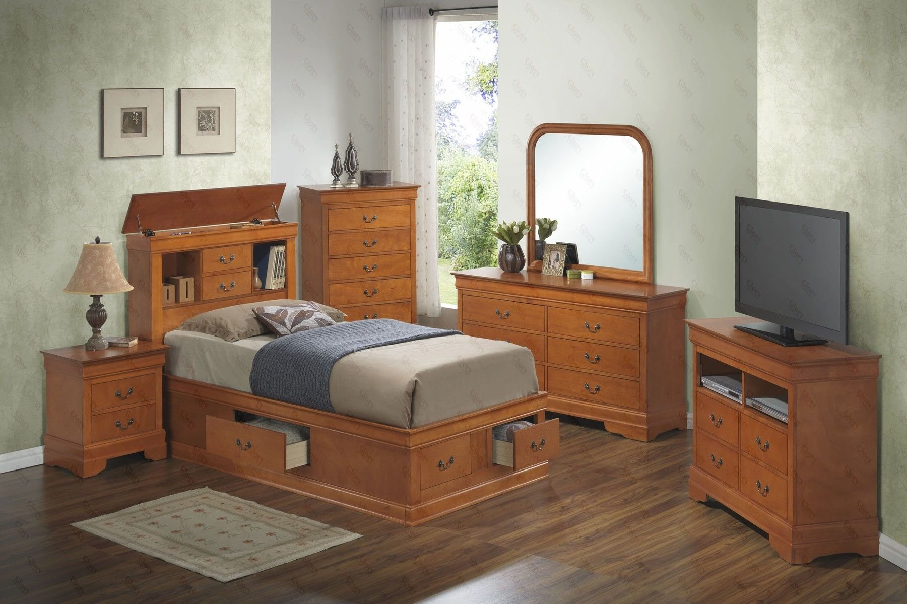 Best Louis Philippe B Twin Set Oak Twin Size B 2Ns Dr Mr Ch With Pictures