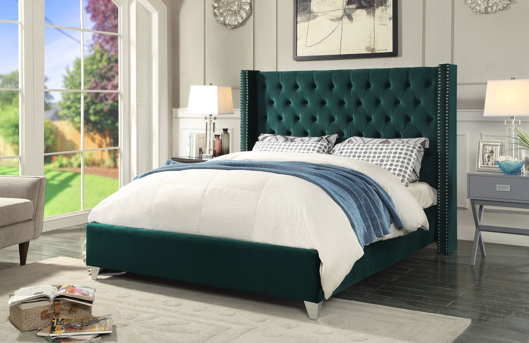 Best Aiden Green Full Size Bed Aiden Meridian Furniture Full With Pictures