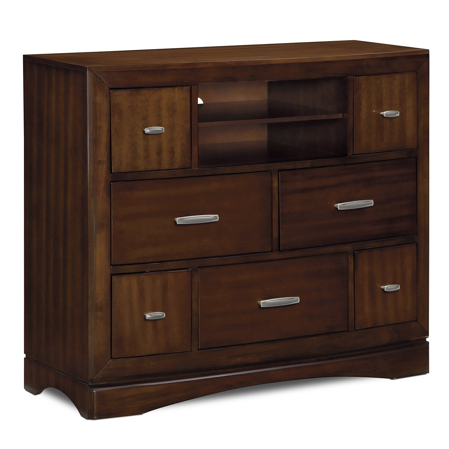 Best Toronto Media Chest Pecan Value City Furniture And Mattresses With Pictures