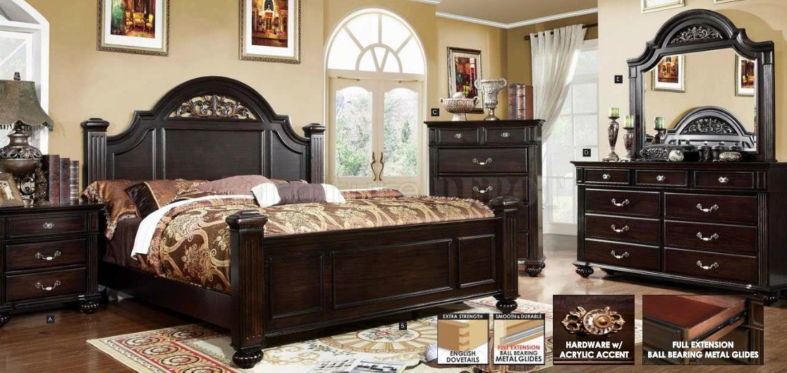 Best Syracuse Collection Bedroom Set Dark Walnut Finish Cm7129 With Pictures