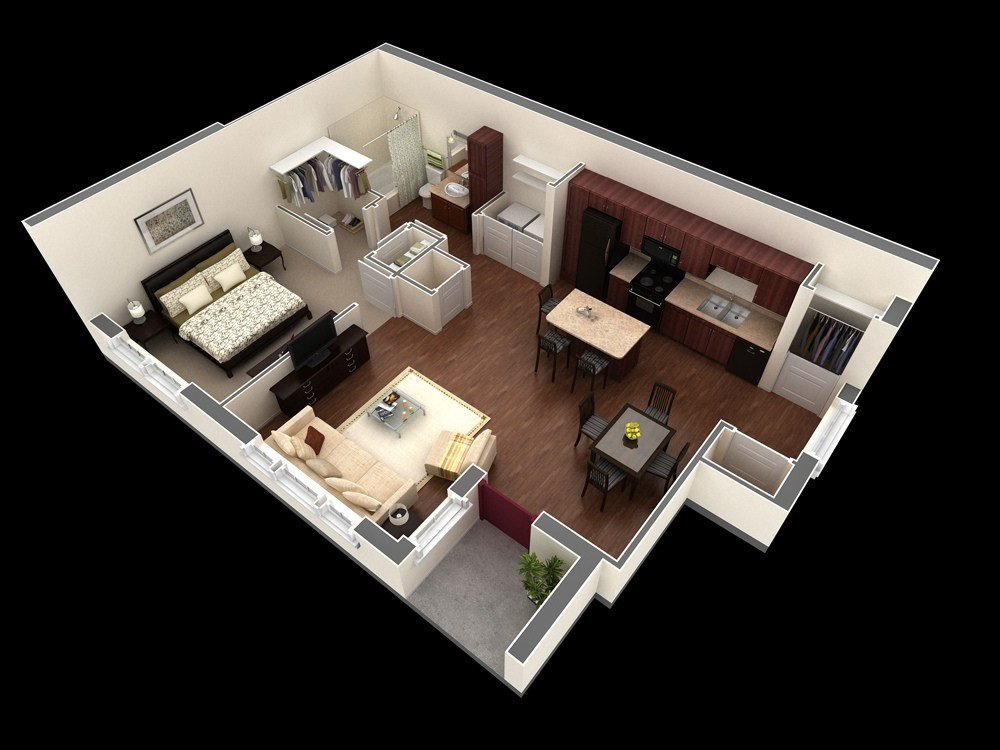 "Best 50 One ""1"" Bedroom Apartment House Plans With Pictures Original 1024 x 768"