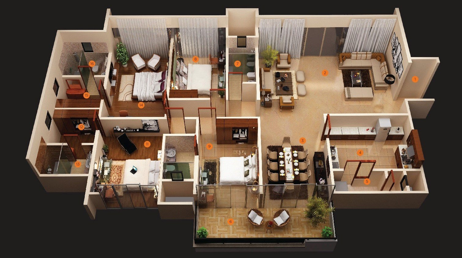 """Best 50 Four """"4"""" Bedroom Apartment House Plans With Pictures"""