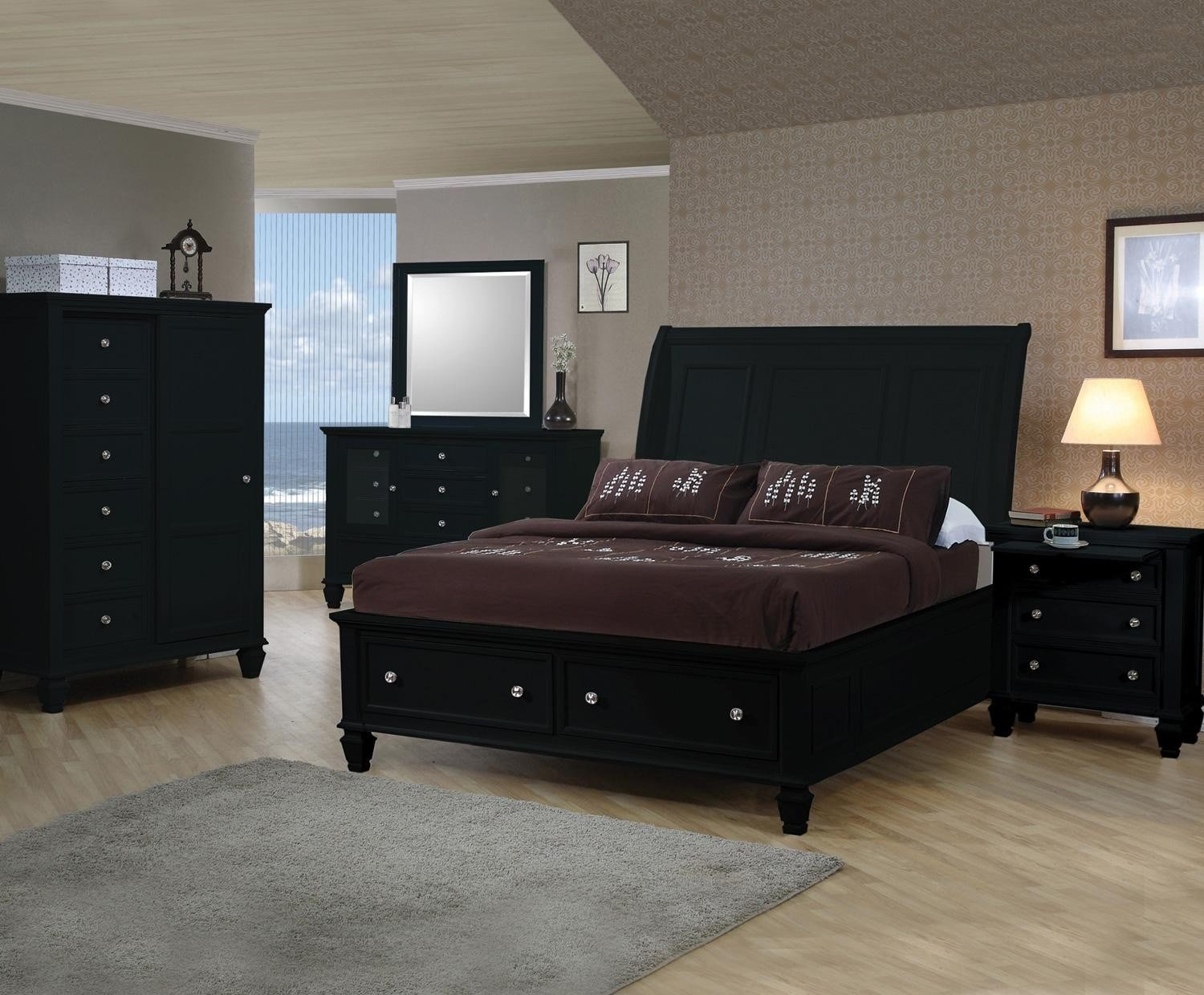 Best Coaster Sandy Beach Black Sleigh Storage Bedroom Set With Pictures