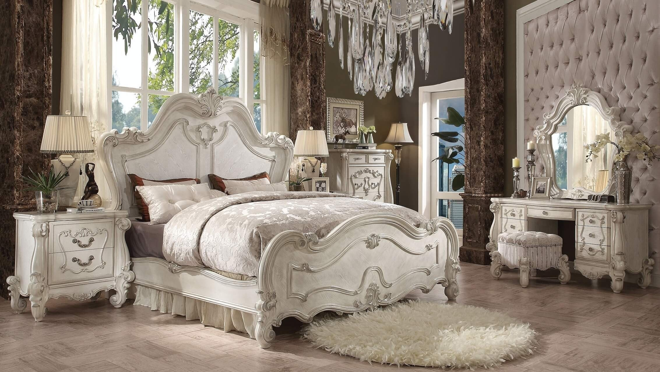 Best Acme Acme Versailles Bedroom Set In Bone White With Pictures