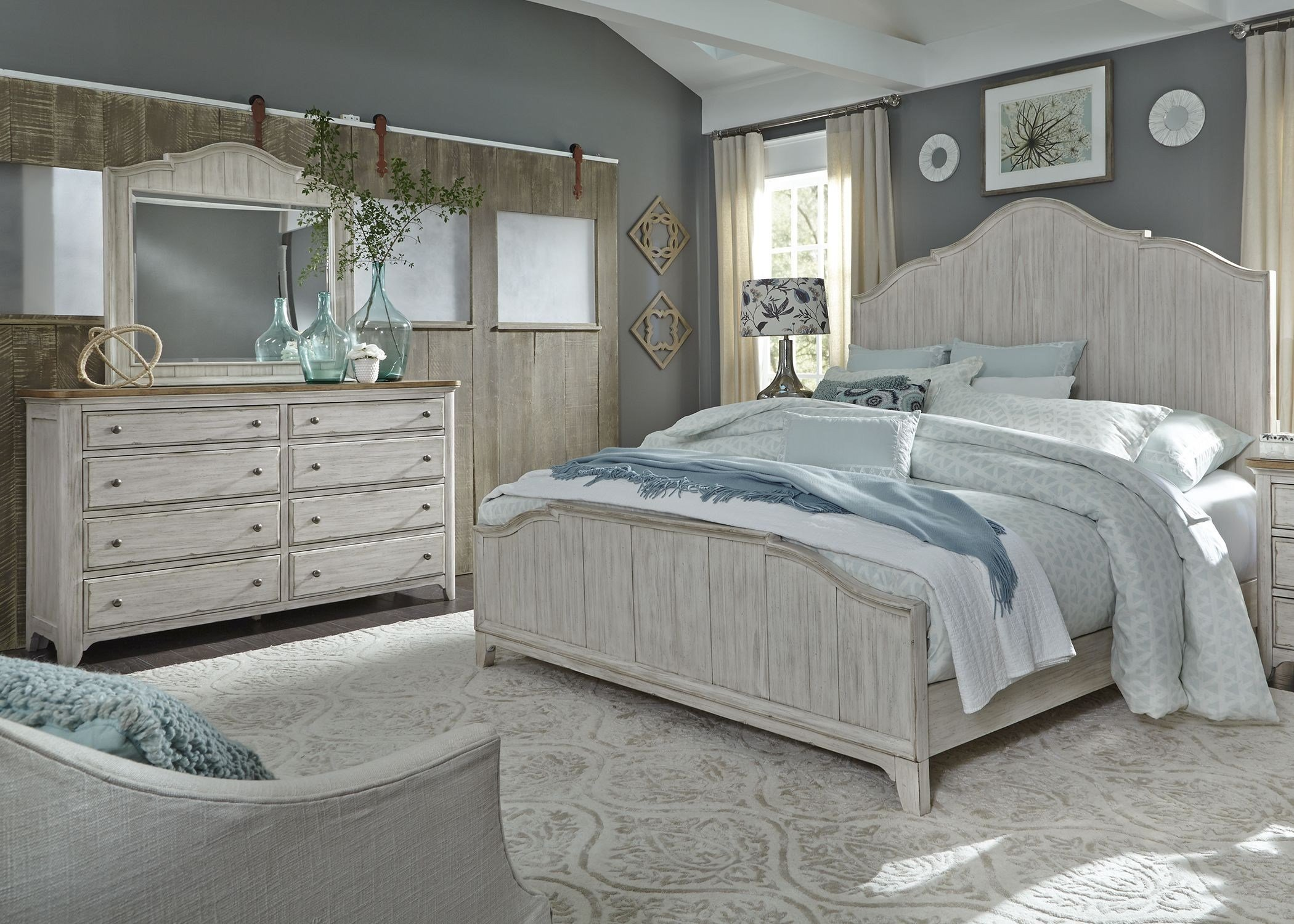 Best Liberty Farmhouse Reimagined Antique White Panel Bedroom With Pictures