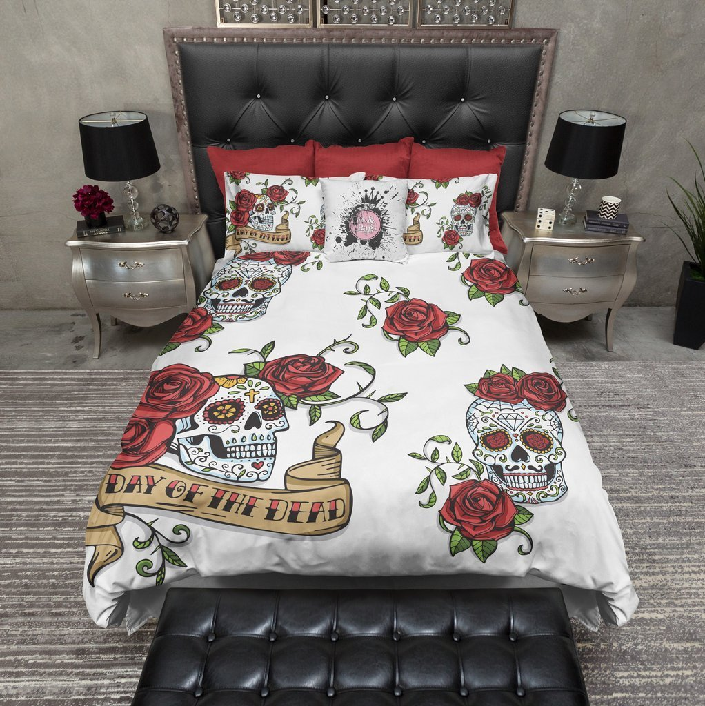 Best Day Of The Dead Rose And Sugar Skull Duvet Bedding Sets With Pictures