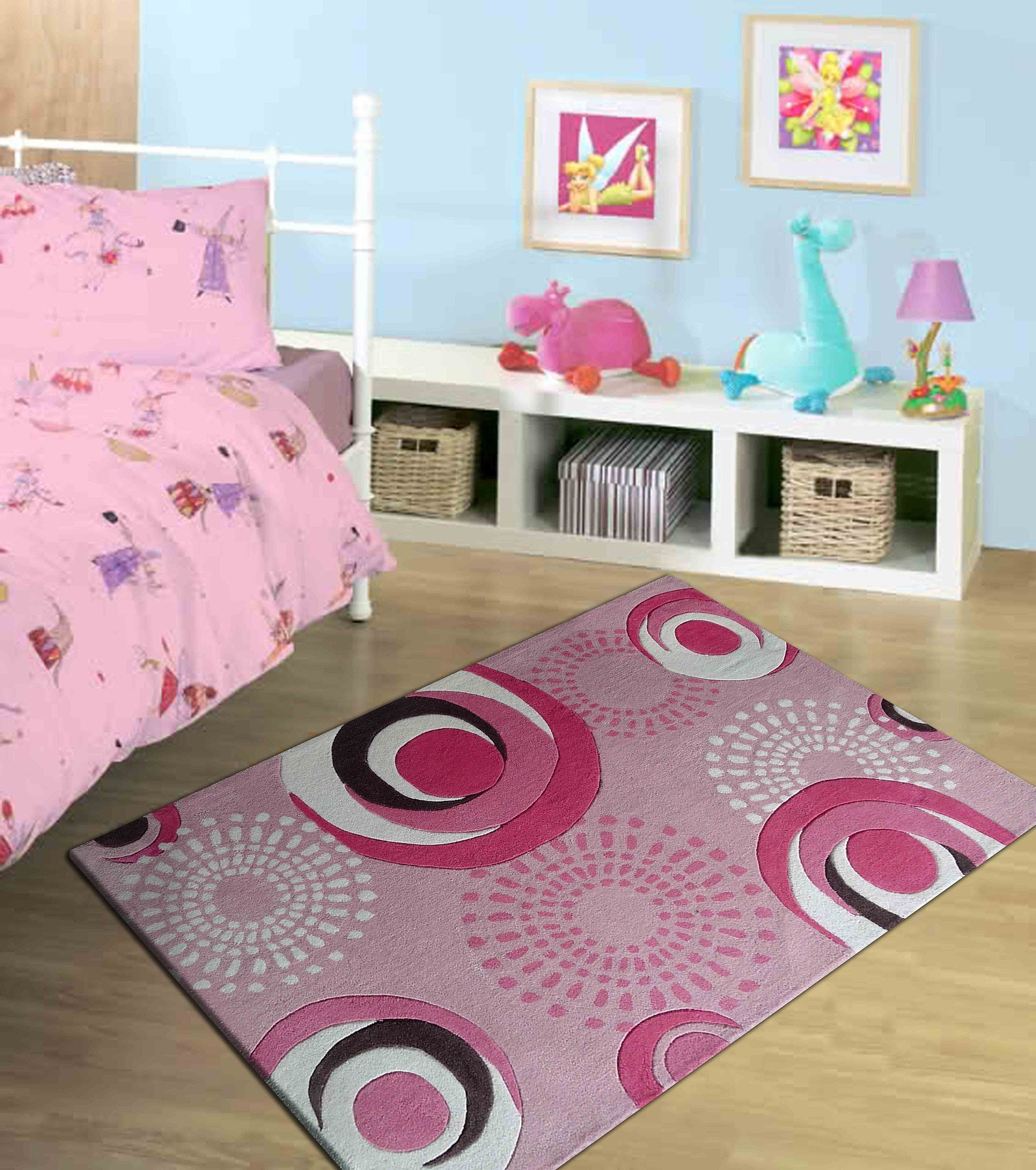 Best 4 X 6 Ft Pink Kids Bedroom Area Rug With Pink Circles Design Rug Addiction With Pictures