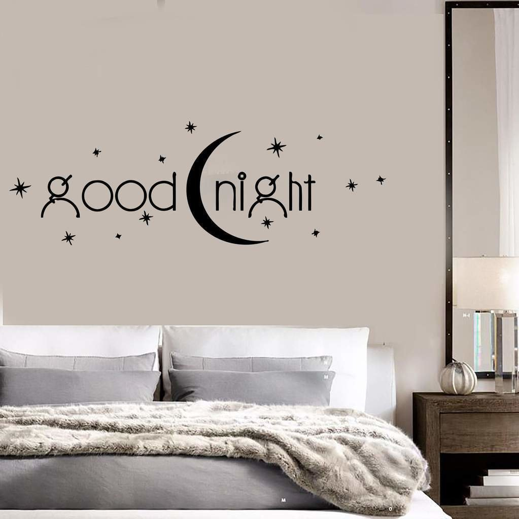 Best Decal Vinyl Bedroom Quote Goodnight Romance Moon Stars With Pictures