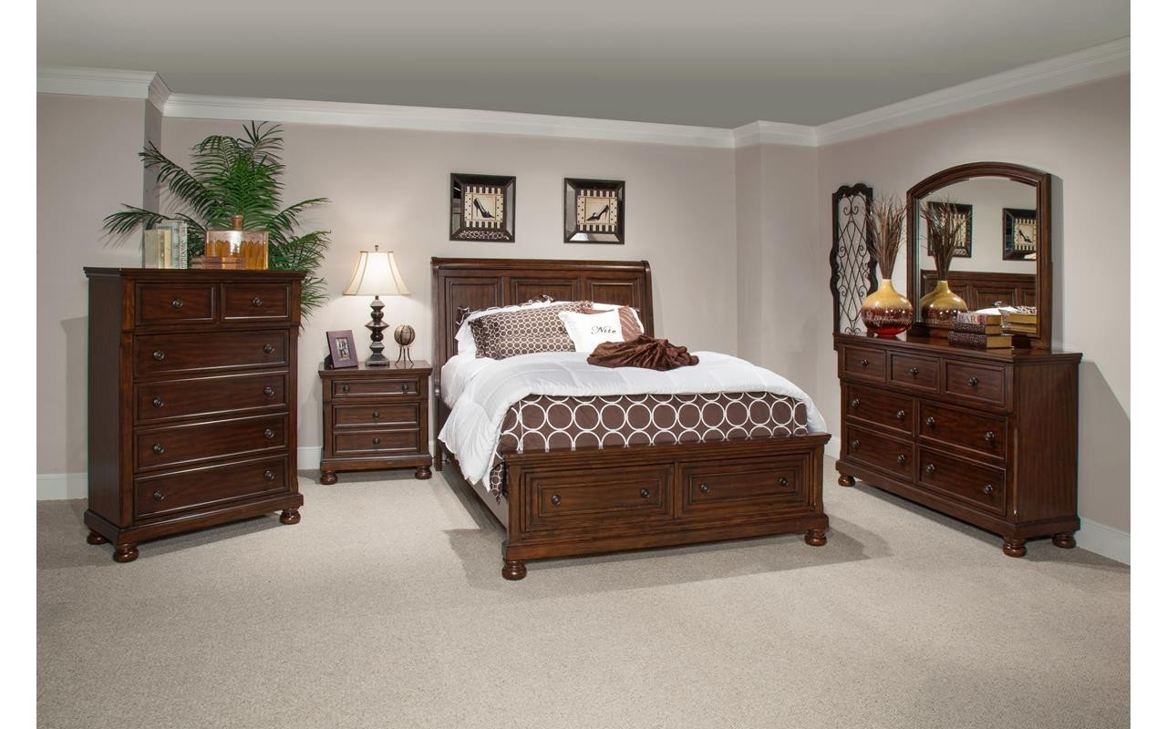 Best Prescott Queen Cherry Bedroom Set My Furniture Place With Pictures
