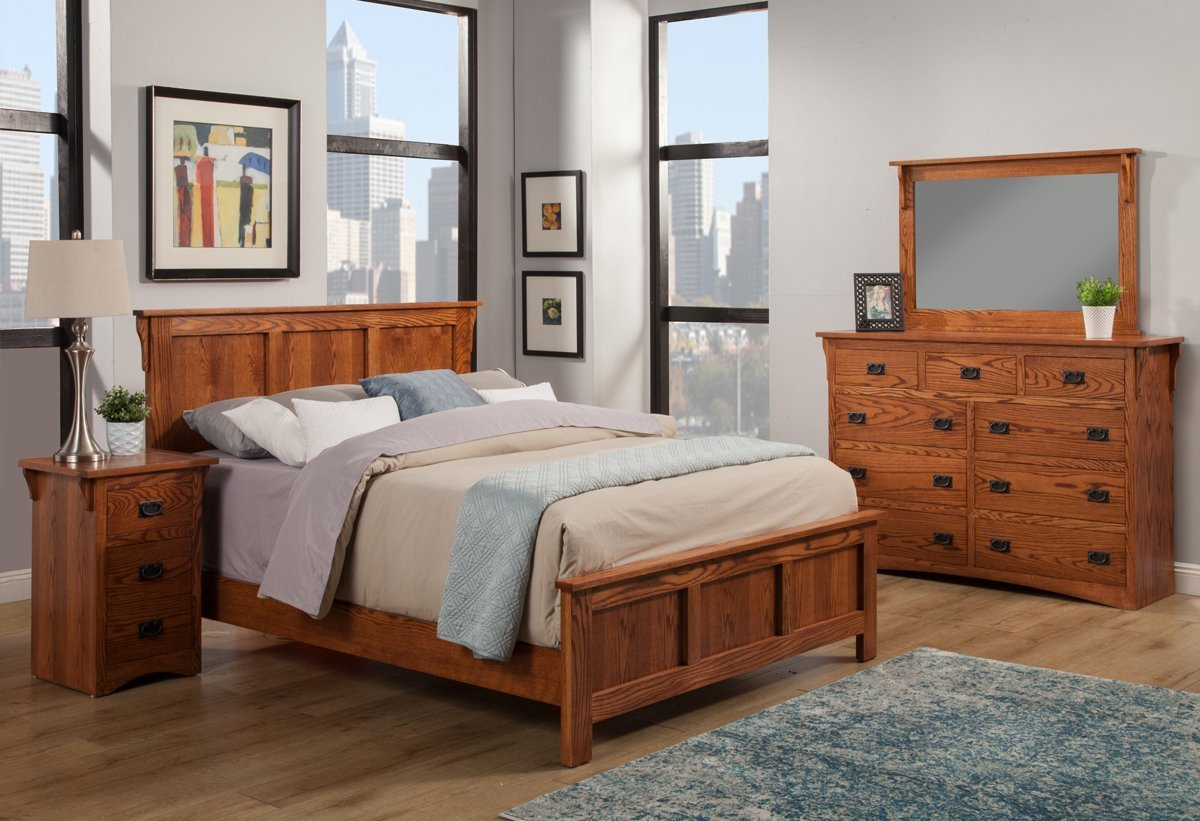 Best Mission Oak Panel Bed Bedroom Suite Queen Size With Pictures