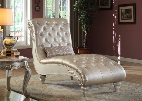 Best Meridian Furniture Marquee Pearl White Chaise The Classy With Pictures