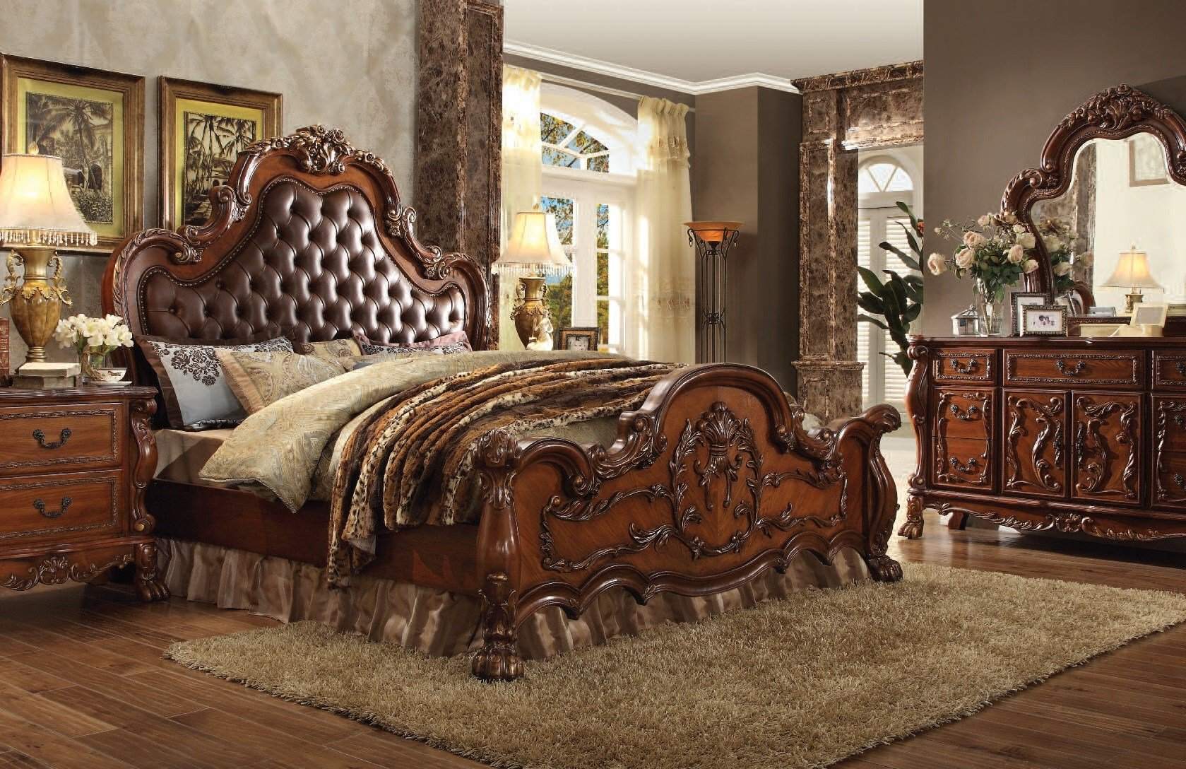 Best Dresden Cherry Oak Wood 5Pc Bedroom Set W Cal King Bed With Pictures
