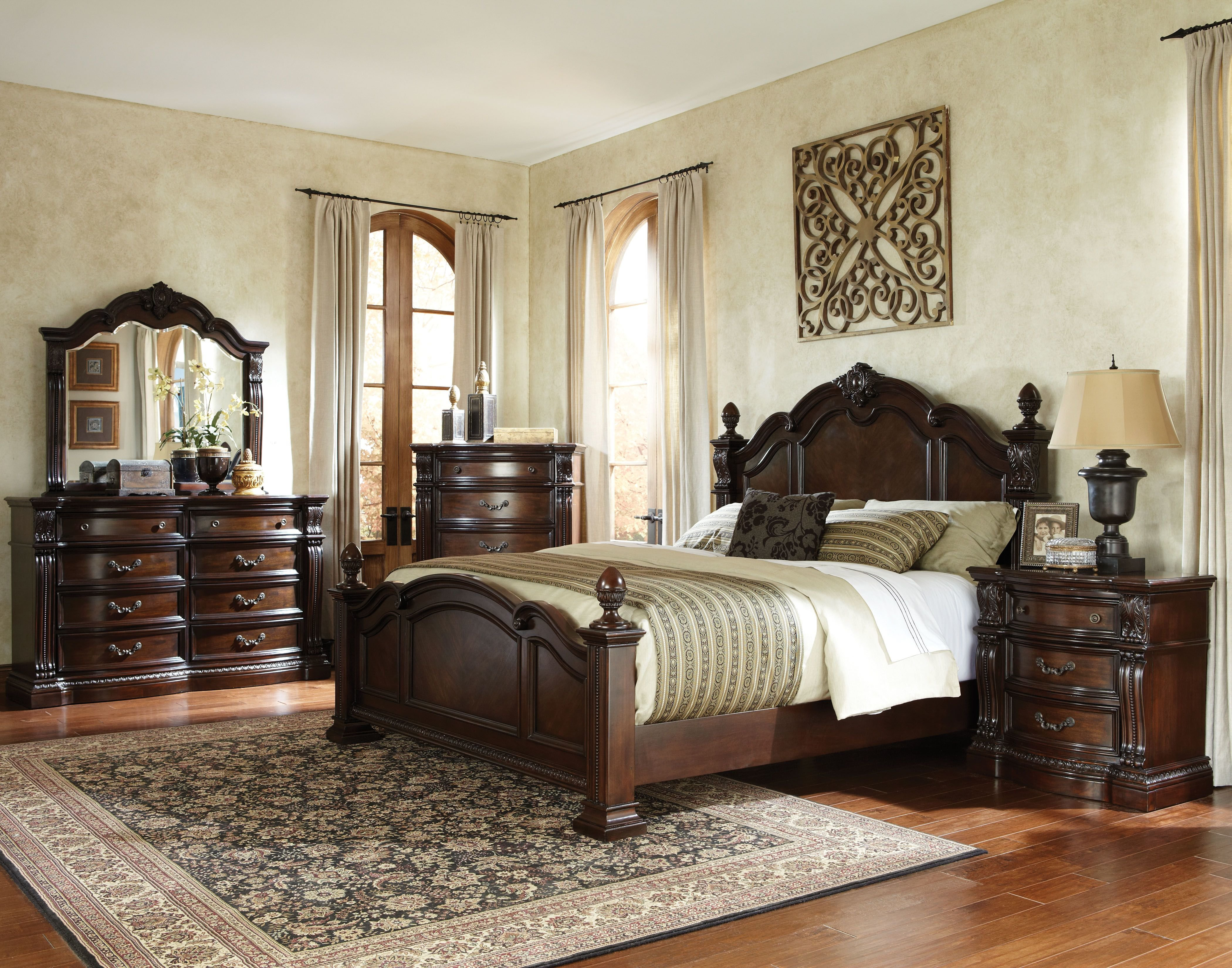 Best Churchill Traditional Brown Hardwood Master Bedroom Set With Pictures