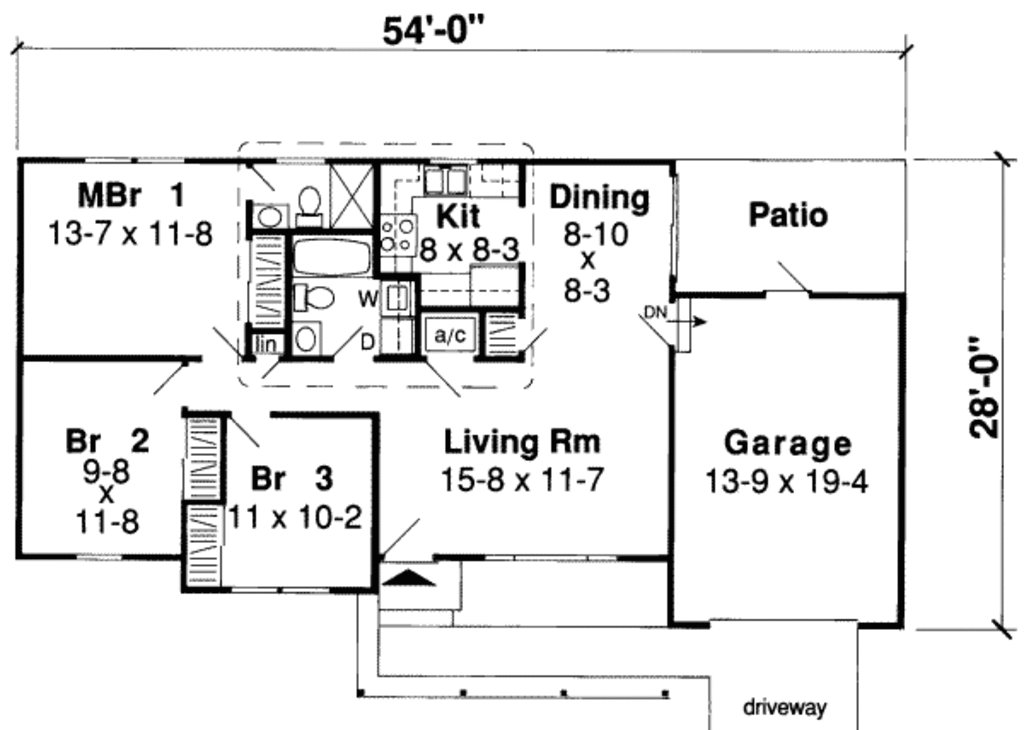 Best Ranch Style House Plan 3 Beds 2 Baths 984 Sq Ft Plan With Pictures