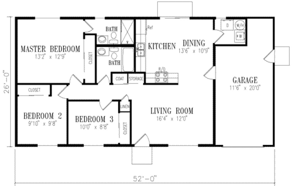 Best Ranch Style House Plan 3 Beds 2 00 Baths 1046 Sq Ft Plan 1 152 With Pictures