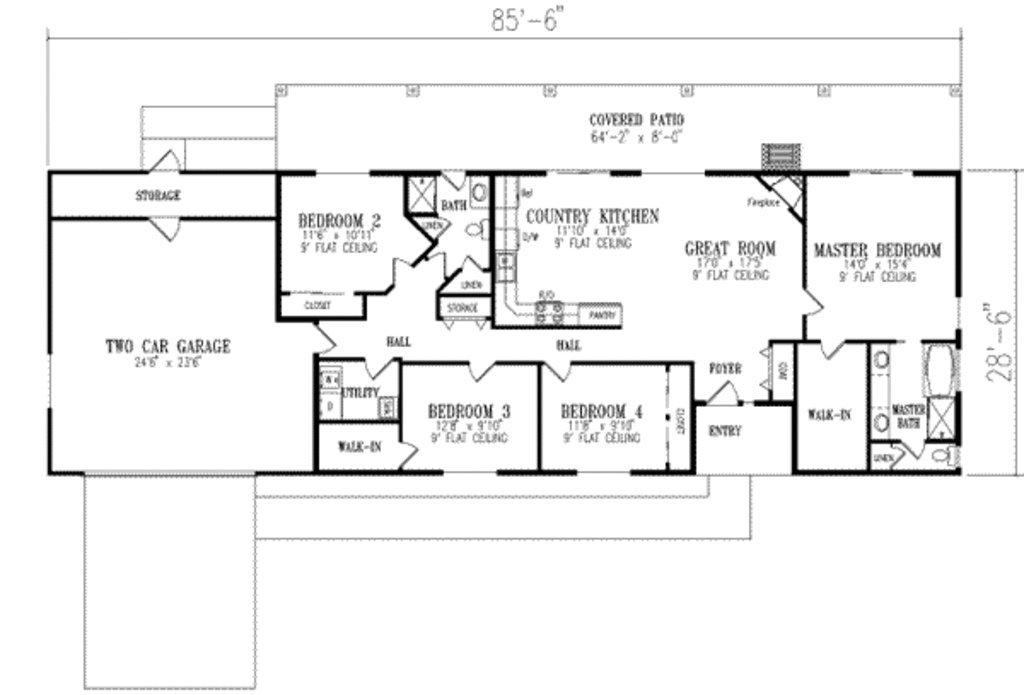 Best Ranch Style House Plan 4 Beds 2 00 Baths 1720 Sq Ft Plan 1 350 With Pictures