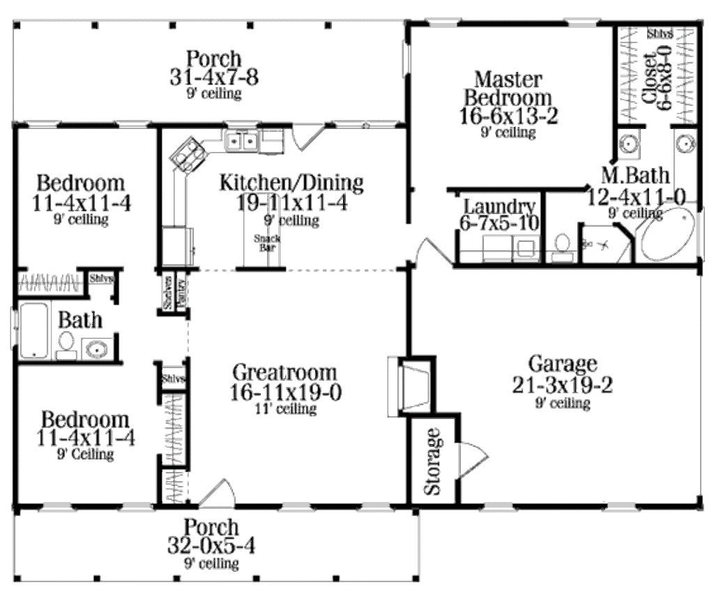Best Country Style House Plan 3 Beds 2 Baths 1492 Sq Ft Plan With Pictures