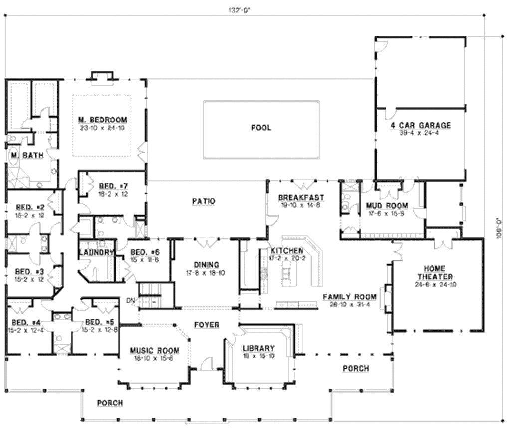 Best Country Style House Plan 7 Beds 6 Baths 6888 Sq Ft Plan 67 871 With Pictures