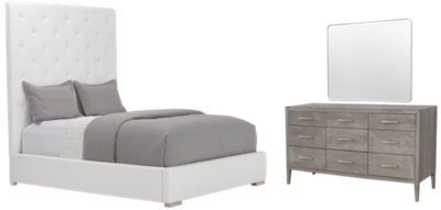 Best City Furniture Berlin White Upholstered Platform Bedroom With Pictures