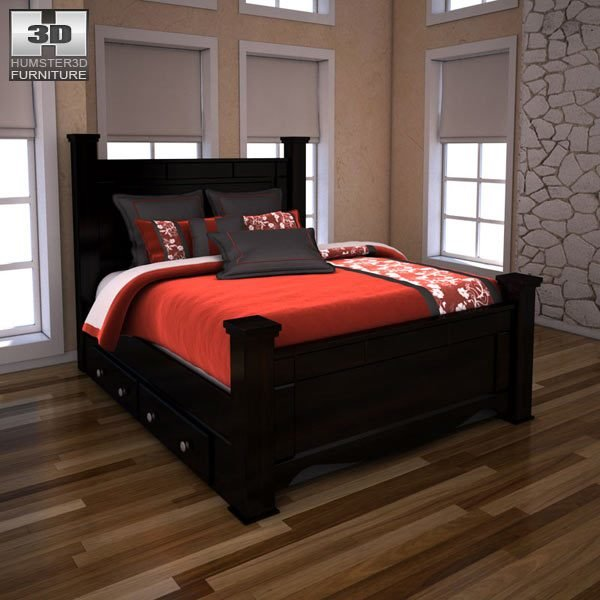 Best Ashley Shay Queen Poster Bed With Storage 3D Model With Pictures