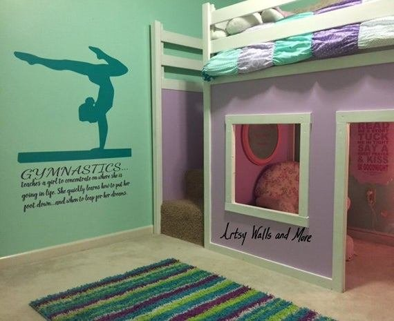 Best Gymnastics Wall Decal Quote Teaches A Girl To With Pictures
