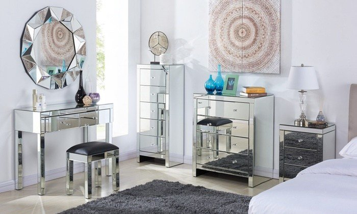 Best Mirrored Bedroom Furniture Groupon With Pictures