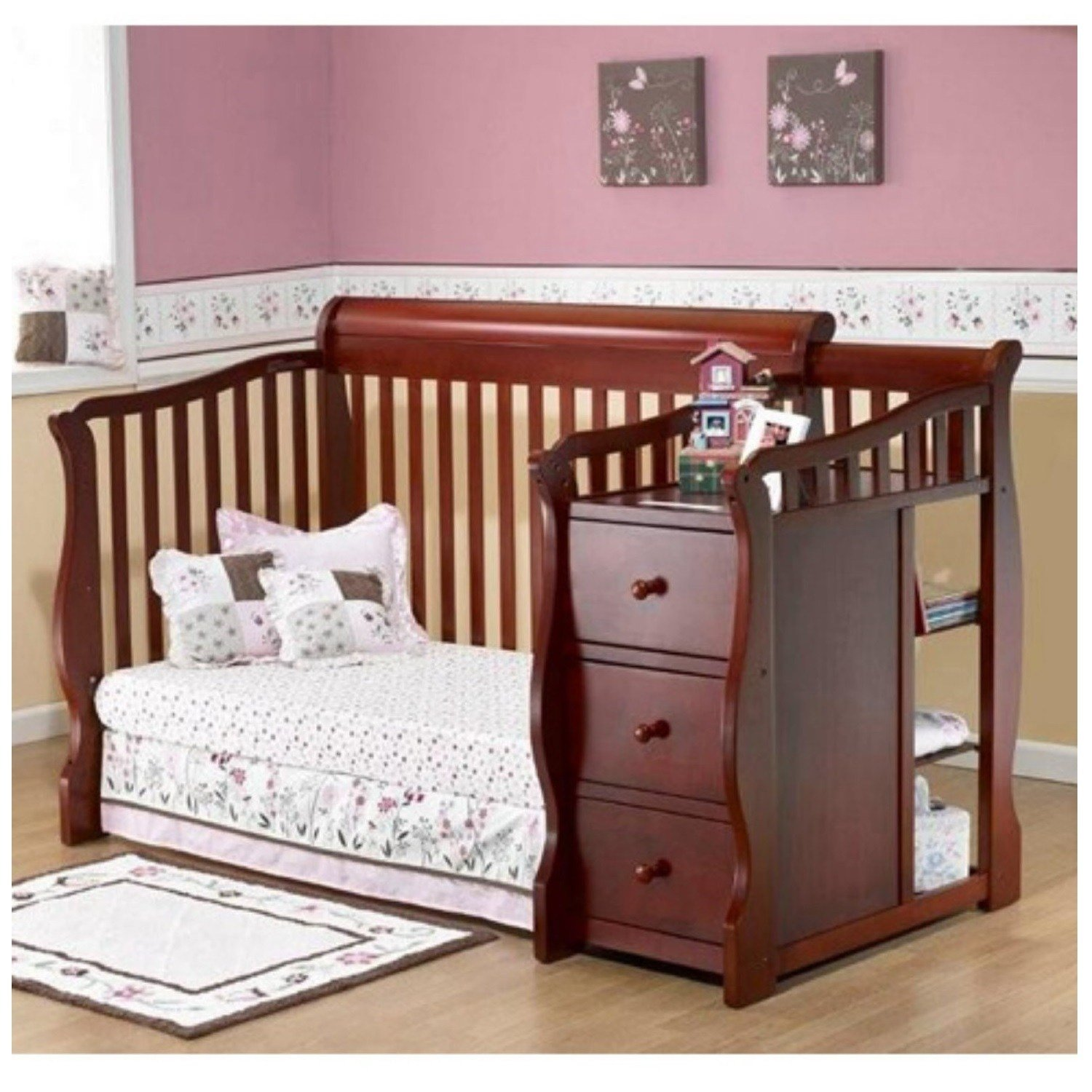 Best Convertible Baby Crib Changing Table Combo Nursery With Pictures