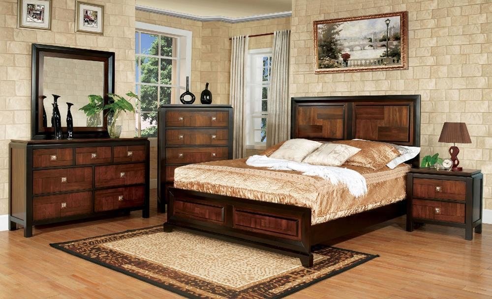 Best Tasker Modern Acacia Panel Full Bed Walnut Wood With Pictures