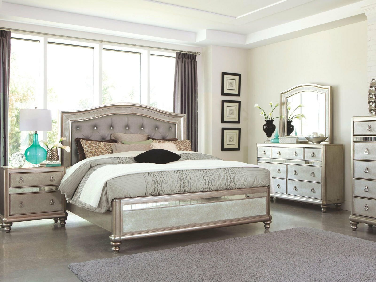 Best Transitional Platinum Silver Bedroom Furniture Brisbane 5Pcs Queen Panel Set Bedroom Sets With Pictures