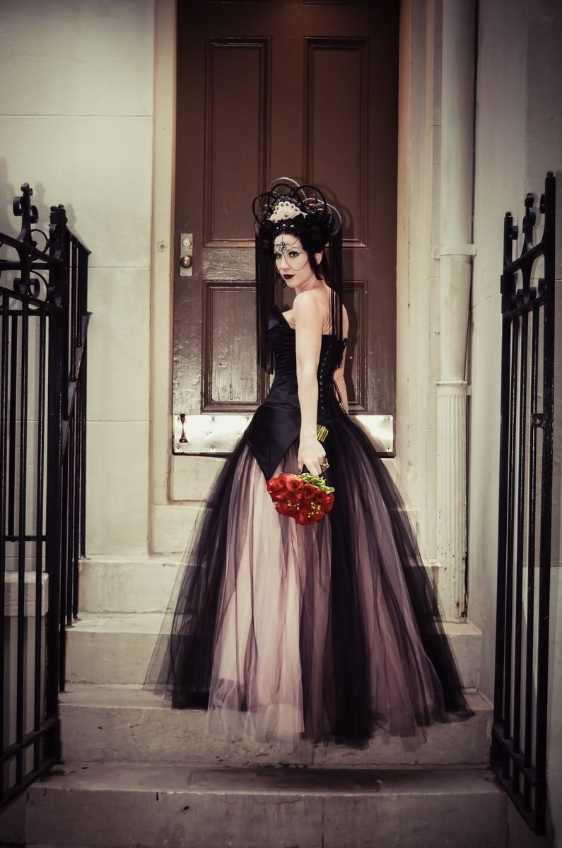 Best Handmade Pink And Black Alternative Corset Wedding Gown By With Pictures