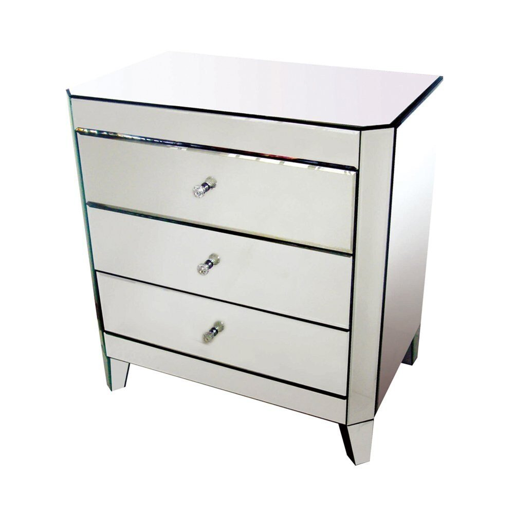 Best Bethel International Mx03 Mirrored Nightstand The Mine With Pictures